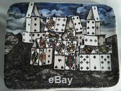 Ensemble De Deux Rares Fornasetti Milano House Of Cards Plateau Plat Bibelots Original