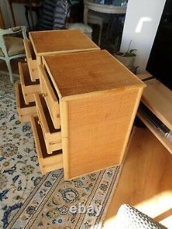 Ensemble De Deux Tables Latérales En Osier/canne En Bambou Du Milieu Du Siècle Avec 3 Tiroirs. 1960/