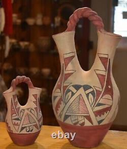 Ensemble De Deux Vases De Mariage Vintage Jemez Pueblo/handcoiled/ Livraison Gratuite