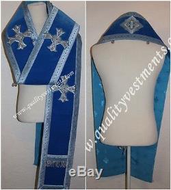 Évêque Orthodoxe Habit Omophors Allemande Blue Velvet Ensemble De Deux Croix D'argent