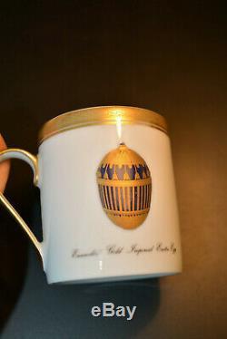 Fabergé Set Coffee Pot & Deux Coupes Coffe Porcelaine 24k W / Boîte
