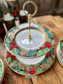 Fitz Et Floyd Holiday Classics Pin Chine 8 Pc Tasses Set, Assiettes, Plateau À Deux Niveaux