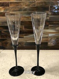 Flûtes À Champagne Cartier Rare Black Stem 9 Ensemble De Deux Verres