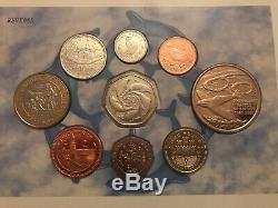Gibraltar 9 Coin Collection 2000 Y Compris Hercules £ 2 Deux Pound Coin Set Annuel