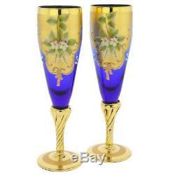 Glassofvenice Ensemble De Deux En Verre De Murano Champagne Flutes 24k Feuille D'or Bleu