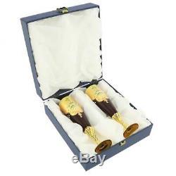 Glassofvenice Ensemble De Deux En Verre De Murano Champagne Flutes 24k Feuille D'or Rouge