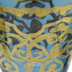 Glassofvenice Ensemble De Deux En Verre De Murano Verres À Vin 24k Feuille D'or Bleu