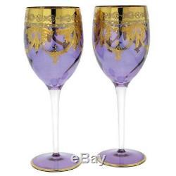 Glassofvenice Ensemble De Deux En Verre De Murano Verres À Vin 24k Gold Leaf Violet