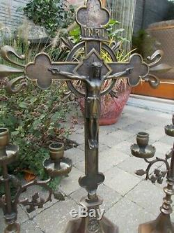 Grand Autel Français Ensemble Bronze Magnifique Debout Crucifix Deux Candélabres 26,37