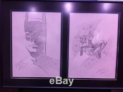 Greg Terre D'origine Batman & Nightwing Comic Art Ensemble De Deux Croquis! Encadré
