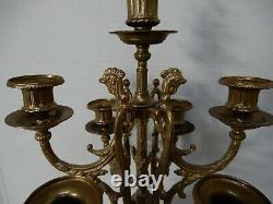 Italien Brevettato Bronze & Marble Candelabras Vintage Ensemble De Deux Bougeoirs
