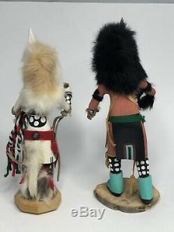 Kachina Poupées Ensemble De Deux Wolfman J. B. & White Coyote Par Bateau En Toute Sécurité R-joe
