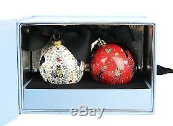 Lanvin Porcelaine Ensemble De Deux Boule De Noël Dans L'original Boîte Bleue Nouveau