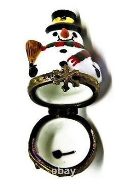 Limoges Box Christmas Neesting Snowman Set Deux Boîtes Trois Pièces