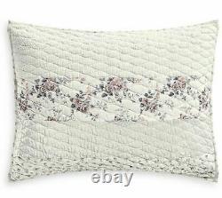 Martha Stewart Collection Textured Floral Stripe King Quilt & Two Std Pillowsham