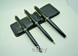 Montblanc Set Deux Stylos Et Stylo À Plume No32 No36 No38 Vintage Black Gold