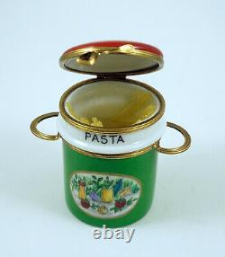 New Français Limoges Box Two Piece Set Spaghetti Pasta Pot W Légumes Peints