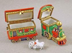 Nouveau Français Limoges Coffret Cadeau De Noël Du Père Noël Train De Deux Locomotives