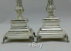 Nouveau Sterling En Argent Massif 925 Paire Deux 2 Set Chandeliers Les Bougeoirs Shabbat