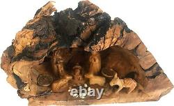 Olive Wood Nativité Ensemble Avec Sculpté Dans Par La Main Rustique Stable No Two Alike Large
