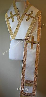 Omophors Orthodoxes D'évêque Ensemble De Deux Petits Et Grands Or Blanc