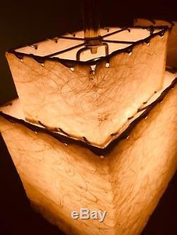 Or Rétro Rose Ensemble De Lampes À Deux Niveaux En Fibre De Verre Abat-jour
