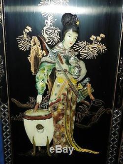 Oriental Sculpté Nacre Noir Panneaux Lacqured Ensemble De Deux