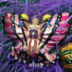 Radko Vintage Ensemble De Deux Ornements Papillon Monarque Rare
