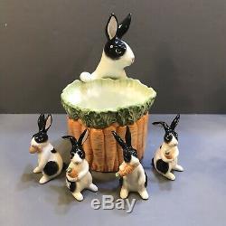 Rare Fitz & Floyd Kensington Bunny Rabbit Planteur Et Deux Ensembles De Shakers 1987