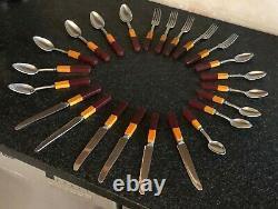 Rare Set Vintage Cardinal Deux Tons Bakelite Flatware Set Rouge Art Déco Argenterie