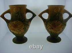 Roseville Pottery Two Vase Set USA 168-6'' Signé Grand Cadeau Maison Décor