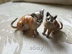 Saturno Silver Et Émail Cats Hallmarked. Ensemble De Deux Firugines De Chat