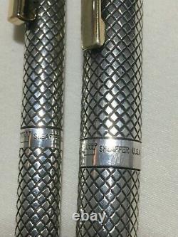 Sheaffer Imperial Argent Sterling Td Or 14k Nib Deux Pièces Set