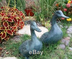 Spi Accueil Grand Verdi Vert Aluminium Deux Canards Amoureux Étang De Jardin Set Figurine