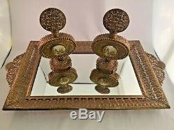 Superbe Set Vintage D'un Plateau Mirrored Avec Deux Bouteilles De Parfum Avec Miniatures