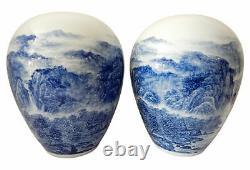 Vases De Porcelaine Chinois Bleu Et Blanc Peints À La Main Ensemble De Deux 15,5 H