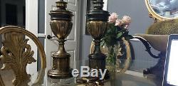 Vintage 36 Qualité Stiffel Laiton Trophée Urne Lampe De Table. (jeu De Deux)