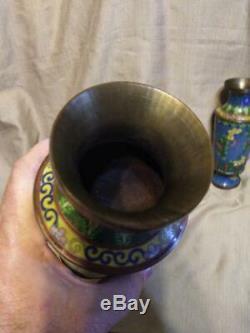 Vintage Brass Chine Chinois Cloisonné Paire De Deux Asiatiques Vase Vases Urnes Bleu Set