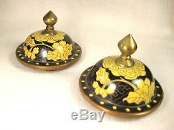 Vintage Chinese C. 1950 Set De Deux (2) Cloisonné Cuivre Lidded Vase Pivoine