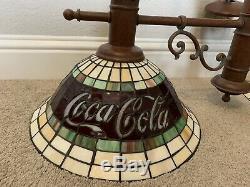 Vintage Coca-cola Lampe Vitrail Plafond Suspendu Lumière Set Ombre De Deux (2)