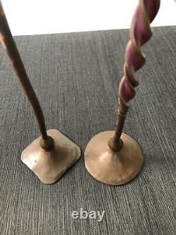 Vintage Hessel Studios Hand Wrought Copper Candlesticks, Set Of Two (2) Wow