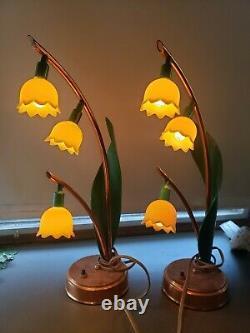 Vintage Muguet Astrolamp Lampe De Table 3 Set Fleurs Jaunes De Deux Rare
