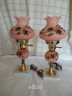Vintage Satin Rose Verre Roses Withapplied Vanité Lampes Boudoir Ensemble De Deux
