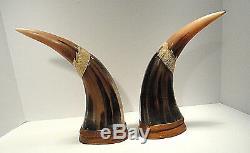 Vintage Sculpté Dragon D'eau Buffalo Horns Thaïlande Ensemble De Deux
