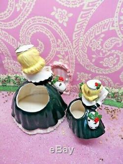 Vtg 1956 Napco Baie De Houx De Noël Caroling Shopper Filles Set Deux W Porte-monnaie