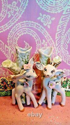 Vtg Christmas Reindeer Anthropomorphic Bud Vase Set De Deux W Pink Floral Trim