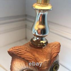Vtg Owl Lamps (2) Ensemble De Deux Chalkware Bird Lake House Décor MCM Éclairage De Table