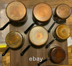 Vtg Revere Ware 14-piece Set 3-quart, Two 2-q, Two 1 1/2 Q, Two 1-q All With LID