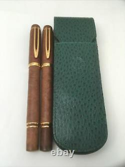 Waterman Le Man 100 Briarwood Set Of Two (2) Stylos Plume & Boîtier En Cuir Vert